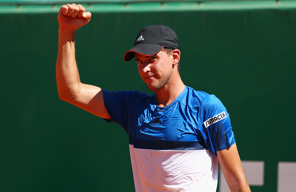 MONTE-CARLO, MONACO - APRIL 14:  Dominic Thiem of Austria celebrates during the round three match against Rafael Nadal of Spain on day five of Monte Carlo Rolex Masters at Monte-Carlo Sporting Club on April 14, 2016 in Monte-Carlo, Monaco.  (Photo by Michael Steele/Getty Images)