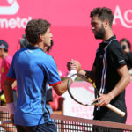 Spanish Pablo Carreno Busta shakes hands with French Benoit Paire during the semifinal of the Millennium Estoril Open ATP 250 tennis tournament at the Clube de Tenis do Estoril in Portugal on April 27, 2016. (Photo: Pedro Fiuza / Nurphoto) ( Photo by Pedro Fi??za/NurPhoto via Getty Images)