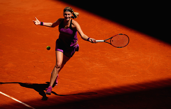 MADRID, SPAIN - MAY 01:  Petra Kvitova of the Czech Republic in action against Lara Arruabarrena of Spain in their first round match during day two of the Mutua Madrid Open tennis tournament at the Caja Magica on May 01, 2016 in Madrid,Spain  (Photo by Clive Brunskill/Getty Images)