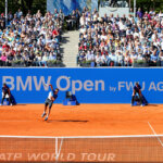 MUNICH, GERMANY - APRIL 30:  Dominic Thiem of Austria serves during his semi finale match against Alexander Zverev of Germany of the BMW Open at Iphitos tennis club on April 30, 2016 in Munich, Germany.  (Photo by Alexander Hassenstein/Getty Images For BMW)