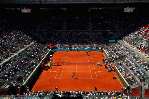 MADRID, SPAIN - MAY 09:  A general view of the Manolo Santana court showing Rafael Nadal of Spain against Tomas Berdych of the Czech Republic in their quarter final match during day seven of the Mutua Madrid Open tennis tournament at the Caja Magica on May 9, 2014 in Madrid, Spain.  (Photo by Clive Brunskill/Getty Images)