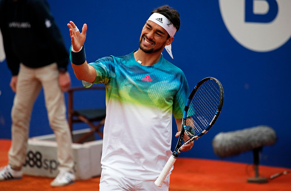 Fabio Fognini during the match against Rafa Nadal, corresponding to the 1/4 final of the Open Banc Sabadell, 64 Trophy Conde de Godo, played on the RCT Barcelona1899, on april 22, 2016. Photo: Joan Valls/Urbanandsport/Nurphoto -- (Photo by Urbanandsport/NurPhoto via Getty Images)