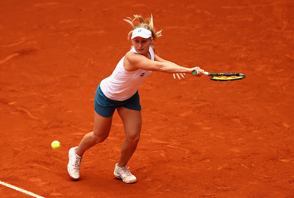 MADRID, SPAIN - MAY 04:  Daria Gavrilova of Australia in action against Petra Kvitova of Czech Republic during day five of the Mutua Madrid Open tennis tournament at the Caja Magica on May 04, 2016 in Madrid, Spain.  (Photo by Julian Finney/Getty Images)