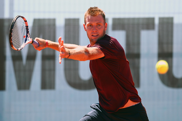 MADRID, SPAIN - MAY 03:  Jack Sock of USA in action against Benoit Paire of France during day four of the Mutua Madrid Open tennis tournament at the Caja Magica on May 03, 2016 in Madrid, Spain.  (Photo by Julian Finney/Getty Images)