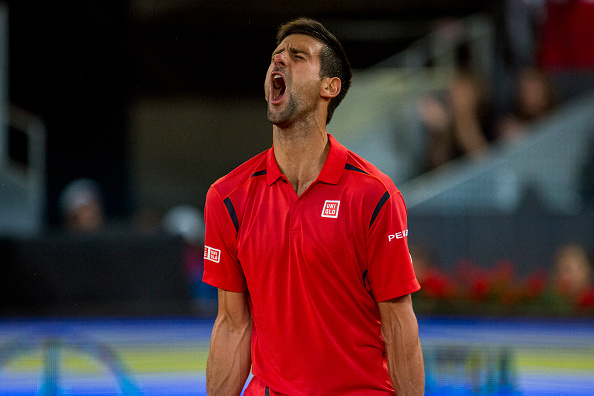 Novak Djokovic from Sebia  celebrates after beating Milos Raonic from Canada, during a Madrid Open tennis tournament match in Madrid, Spain, Friday, May 6, 2016. Rafael Nadal won 6-3 and 6-4 (Photo by Rodrigo Garcia/NurPhoto via Getty Images)