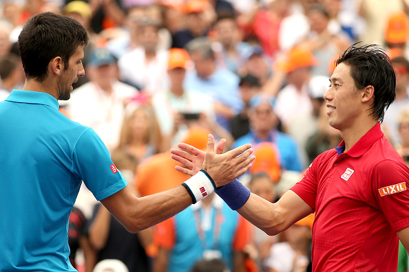 during the mens final on Day 14 of the Miami Open presented by Itau at Crandon Park Tennis Center on April 3, 2016 in Key Biscayne, Florida.