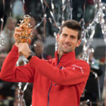 MADRID SPAIN-  MAY 08: Novak Djokovic of Serbia holds the winners trophy after defeating Andy Murray of Great Britain in the final during day nine of the Mutua Madrid Open tennis tournament at the Caja Magica on May 08, 2016 in Madrid, Spain  (Photo by Gonzalez Fuentes Oscar/Corbis via Getty Images)