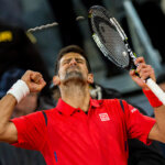 Novak Djocovic from Serbia celebrates after he won a match against Kei Nishikori from japan during a Madrid Open tennis tournament semifinals match in Madrid, Spain, Saturday, May 7, 2016.  Djokovic won 6-3 and 7-6  (Photo by Rodrigo Garcia/NurPhoto via Getty Images)