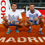 MADRID, SPAIN - MAY 08:  Jean-Julien Rojer of Netherlands and Horia Tecau of Romania with the winners trophies after their win in the doubles final against Rohan Bopanna of India and Florin Mergea of Romania during day nine of the Mutua Madrid Open tennis tournament at the Caja Magica on May 08, 2016 in Madrid, Spain.  (Photo by Julian Finney/Getty Images)