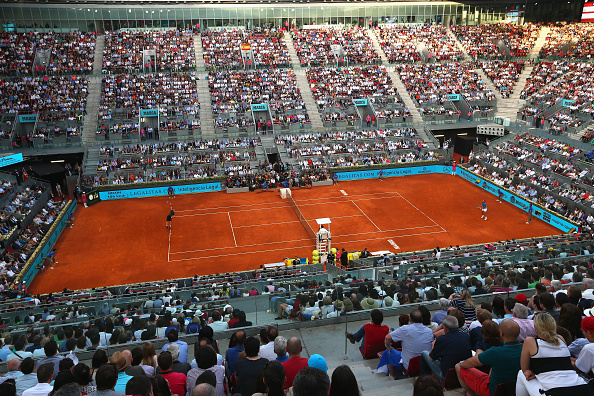 MADRID, SPAIN - MAY 10: A general view of Manolo Santana centre court showing Andy Murray of Great Britain in action against Rafael Nadal of Spain  in the mens final during day nine of the Mutua Madrid Open tennis tournament at the Caja Magica  on May 10, 2015 in Madrid, Spain.  (Photo by Clive Brunskill/Getty Images)