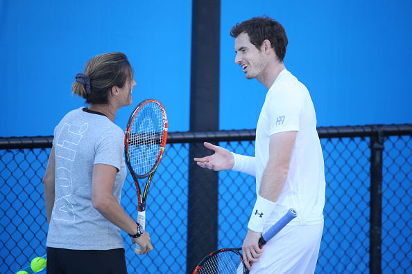 MELBOURNE, AUSTRALIA - JANUARY 24:  Andy Murray of Great Britain and his coach Amelie Mauresmo in his practice session during day seven of the 2016 Australian Open at Melbourne Park on January 24, 2016 in Melbourne, Australia.  (Photo by Michael Dodge/Getty Images)