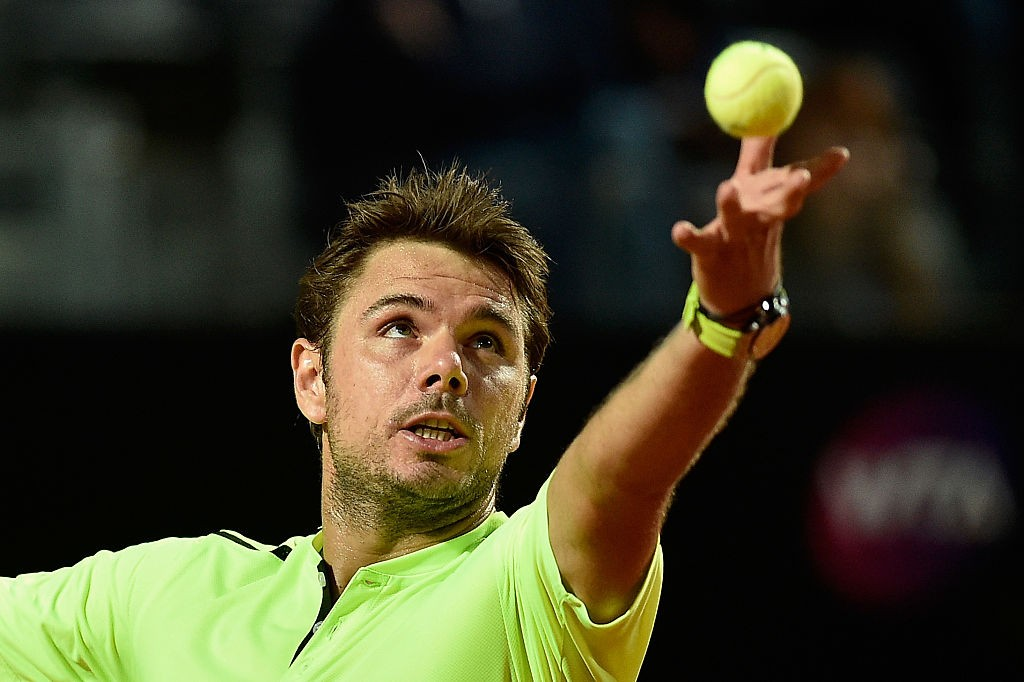 ROME, ITALY - MAY 10:  Stanislas Wawrinka of Switzerland serves in his match against Benoit Paire of France on Day Three of The Internazionali BNL d'Italia 2016 on May 10, 2016 in Rome, Italy.  (Photo by Dennis Grombkowski/Getty Images)