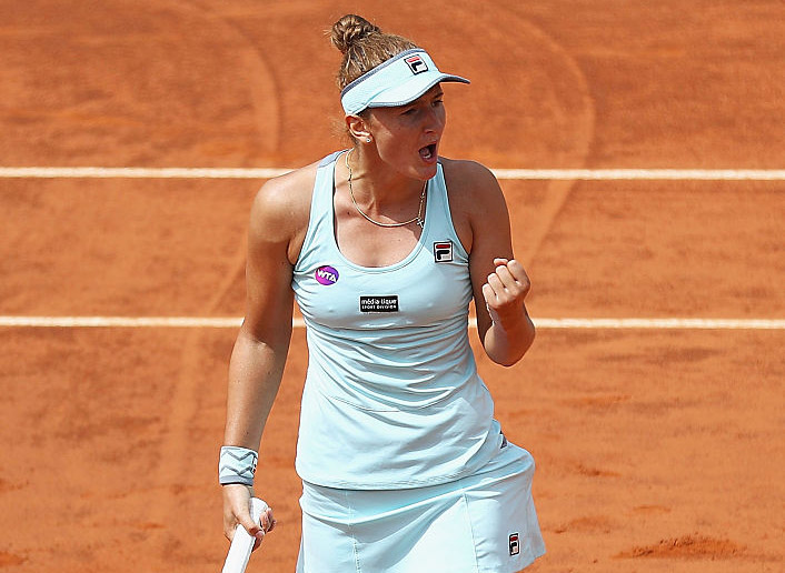 ROME, ITALY - MAY 11:  Camelia Begu of Romania in celebrates a point during her match against Victoria Azarenka of Belarus during day four of the The Internazionali BNL d'Italia 2016 on May 11, 2016 in Rome, Italy.  (Photo by Matthew Lewis/Getty Images)