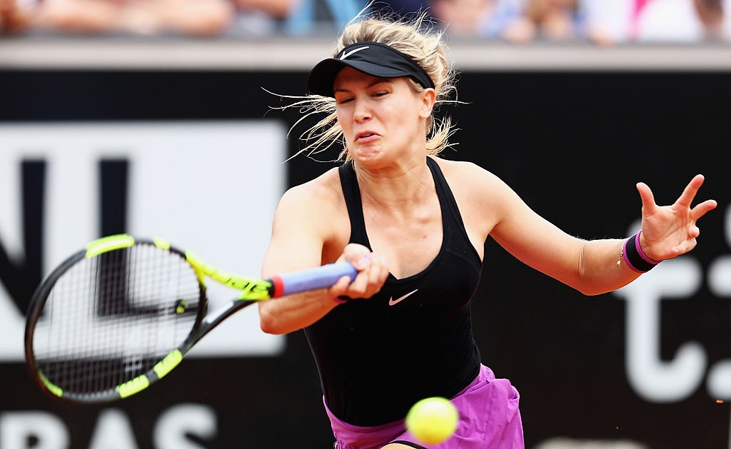 ROME, ITALY - MAY 11:  Eugenie Bouchard of Canada in action against Angelique Kerber of GErmany during day four of the The Internazionali BNL d'Italia 2016 on May 11, 2016 in Rome, Italy.  (Photo by Matthew Lewis/Getty Images)