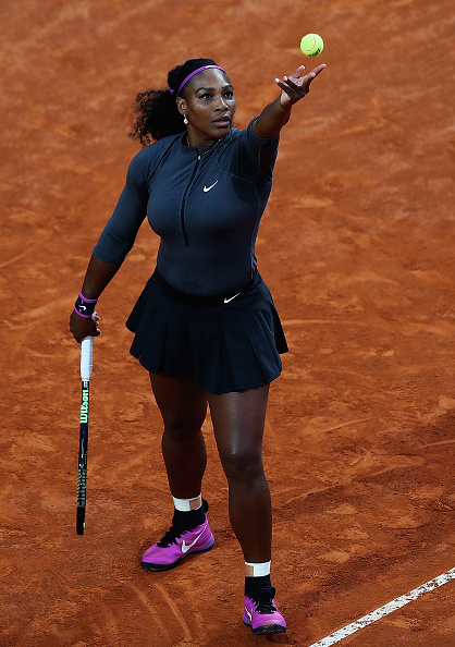 ROME, ITALY - MAY 10:  Serena Williams of the United States in action against Anna-Lena Friedsam of Germany during day three of The Internazionali BNL d'Italia 2016 on May 10, 2016 in Rome, Italy.  (Photo by Matthew Lewis/Getty Images)
