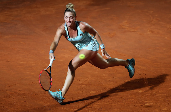 ROME, ITALY - MAY 11:  Timea Babos of Hungary in action against Venus Williams of the United States during day four of the The Internazionali BNL d'Italia 2016 on May 11, 2016 in Rome, Italy.  (Photo by Matthew Lewis/Getty Images)