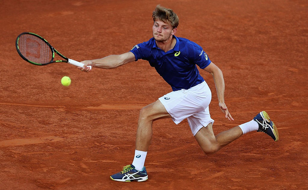 ROME, ITALY - MAY 12:  David Goffin of Belguim in action against Tomas Berdych of the Czech Republic during day five of The Internazionali BNL d'Italia 2016 on May 12, 2016 in Rome, Italy.  (Photo by Matthew Lewis/Getty Images)