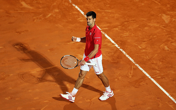 ROME, ITALY - MAY 12:  Novak Djokovic of Serbia celebrates winning against Thomaz Bellucci of Barsil  during day five of The Internazionali BNL d'Italia 2016 on May 12, 2016 in Rome, Italy.  (Photo by Matthew Lewis/Getty Images)