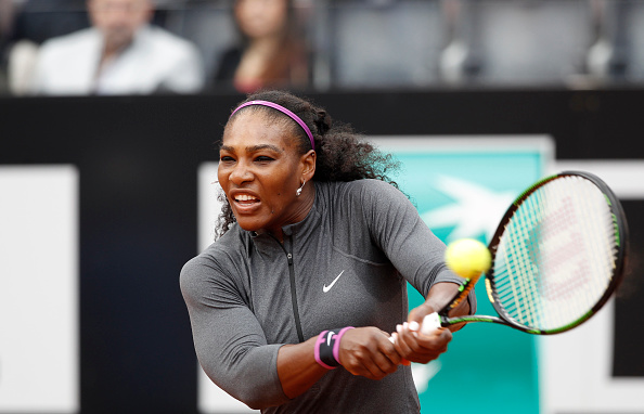 ROME, ITALY - 2016/05/12: United States' Serena Williams returns the ball to her compatriot Christina McHale at the Italian Open tennis tournament. Christina McHale held an early first-set lead over top-ranked Serena Williams on Thursday, but Williams was able to come back and defeat McHale, 7-6 (7), 6-1 in their third-round match at the Italian Open. (Photo by Isabella Bonotto/Pacific Press/LightRocket via Getty Images)