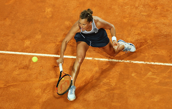 ROME, ITALY - MAY 12:  Barbora Strycova of the Czech Republic in action against Eugenie Bouchard of Canada during day five of The Internazionali BNL d'Italia 2016 on May 12, 2016 in Rome, Italy.  (Photo by Matthew Lewis/Getty Images)