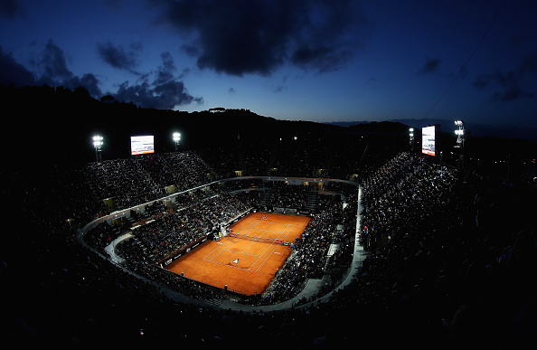 ROME, ITALY - MAY 12:  A general view of centre court during the Novak Djokovic of Serbia and Thomaz Bellucci of Brasil match during day five of The Internazionali BNL d'Italia 2016 on May 12, 2016 in Rome, Italy.  (Photo by Matthew Lewis/Getty Images)