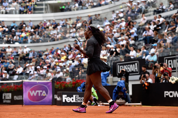 ROME, ITALY - MAY 12:  Serena Williams of the United States celebrates first set in her match against Christina Mchale of the United States on Day Five of The Internazionali BNL d'Italia on May 12, 2016 in Rome, Italy.  (Photo by Dennis Grombkowski/Getty Images)