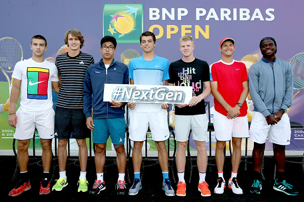 INDIAN WELLS, CA - MARCH 08: Borna Coric of Croatia, Alexander Zverev of Germany, Hyeon Chung of Korea, Taylor Fritz, Kyle Edmund of Great Britain, Jared Donaldson and Frances Tiafoe pose for photographers after participating in the ATP #NextGen player panel during the BNP Paribas Open at the Indian Wells Tennis Garden on March 8, 2016 in Indian Wells, California.  (Photo by Matthew Stockman/Getty Images)