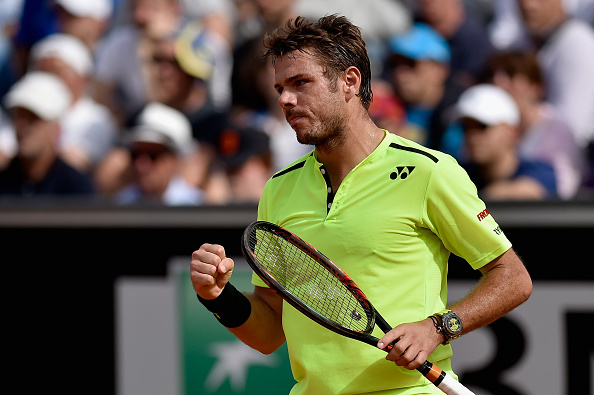 ROME, ITALY - MAY 12:  Stanislas Wawrinka of Switzerland celebrates a point in his match against Juan Monaco of Argentina on Day Five of The Internazionali BNL d'Italia on May 12, 2016 in Rome, Italy.  (Photo by Dennis Grombkowski/Getty Images)