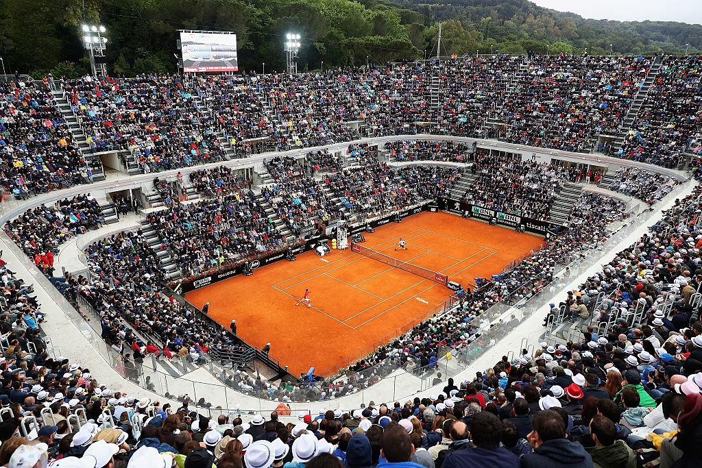 ROME, ITALY - MAY 15:  A general view of centre court during Novak Djokovic of Serbia and Andy Murray of Great Britain during the Mens Singles Final during day eight of The Internazionali BNL d'Italia 2016 on May 15, 2016 in Rome, Italy.  (Photo by Matthew Lewis/Getty Images)