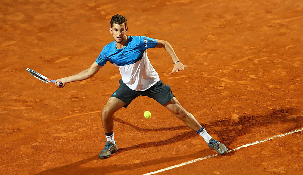 ROME, ITALY - MAY 13:  Dominic Thiem of Austria in action against Kei Nishikori of Japan during day six of the The Internazionali BNL d'Italia 2016 on May 13, 2016 in Rome, Italy.  (Photo by Matthew Lewis/Getty Images)