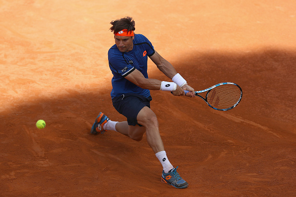 ROME, ITALY - MAY 12:  David Ferrer of Spain in action against Lucas Pouille of France during day five of The Internazionali BNL d'Italia 2016 on May 12, 2016 in Rome, Italy.  (Photo by Matthew Lewis/Getty Images)