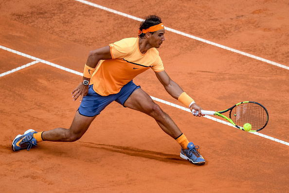 Rafael Nadal (ESP) during the ATP match Nadal (ESP) vs Djokovic (SRB) at the Internazionali BNL d'Italia 2016 at the Foro Italico on May 13, 2016 in Rome, Italy. (Photo by Giuseppe Maffia / DPI / NurPhoto via Getty Images)