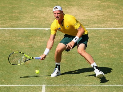 during the Davis Cup tie between Australia and the United States at Kooyong on March 4, 2016 in Melbourne, Australia.