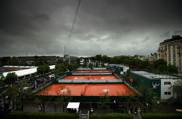 PARIS, FRANCE - MAY 22:  (EDITORS NOTE: A graduated filter was used for this image) The clay courts are covered over as rain delays play on day one of the 2016 French Open at Roland Garros on May 22, 2016 in Paris, France.  (Photo by Clive Brunskill/Getty Images)