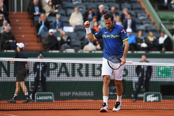 PARIS, FRANCE - MAY 23:  Radek Stepanek of Czech Republic celebrates during the Men's Singles first round match against Andy Murray of Great Britain on day two of the 2016 French Open at Roland Garros on May 23, 2016 in Paris, France.  (Photo by Dennis Grombkowski/Getty Images)