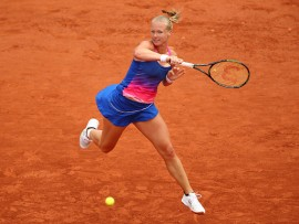 during the ***** Singles first round match against ***** on day three of the 2016 French Open at Roland Garros on May 24, 2016 in Paris, France.