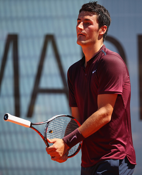 MADRID, SPAIN - MAY 03:  Bernard Tomic of Australia shows his emotion against Fabio Fognini of Italy in their first round match during day four of the Mutua Madrid Open tennis tournament at the Caja Magica on May 03, 2016 in Madrid,Spain.  (Photo by Clive Brunskill/Getty Images)