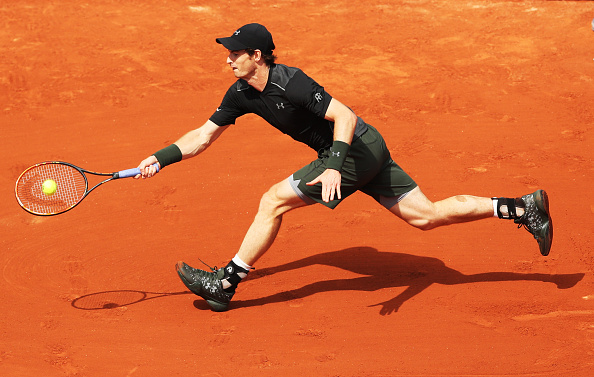 PARIS, FRANCE - MAY 25:  Andy Murray of Great Britain plays a shot during the Men's Singles Second round match against Mathias Bourgue of France on day Four of the 2016 French Open at Roland Garros on May 25, 2016 in Paris, France . (Photo by Ian MacNicol/Getty Images)