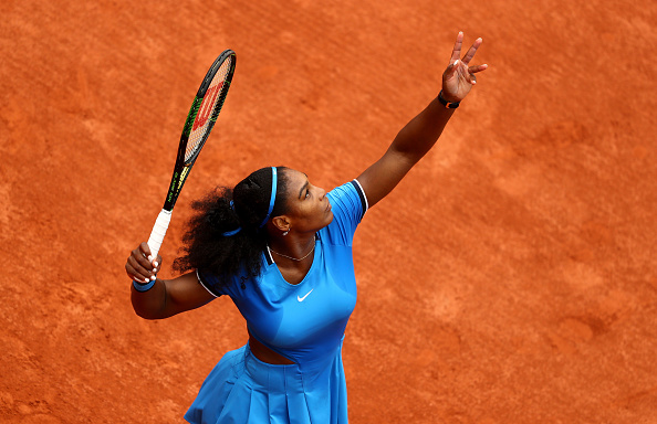 PARIS, FRANCE - MAY 26:  Serena Williams of the United States serves during the Ladies Singles second round match against Teliana Pereira of Brazil on day five of the 2016 French Open at Roland Garros on May 26, 2016 in Paris, France.  (Photo by Julian Finney/Getty Images)