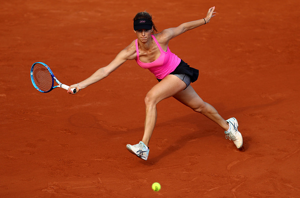 PARIS, FRANCE - MAY 27:  Tsvetana Pironkova of Bulgaria stretches to hit a forehand during the Ladies Singles third round match against Sloane Stephens of the United States on day six of the 2016 French Open at Roland Garros on May 27, 2016 in Paris, France.  (Photo by Julian Finney/Getty Images)