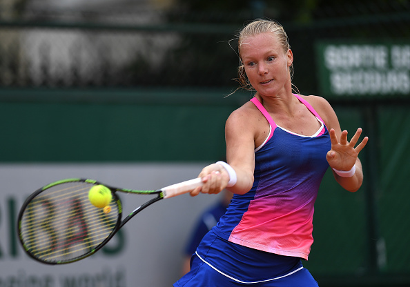 PARIS, FRANCE - MAY 28:  Kiki Bertens of Netherlands hits a forehand during the Ladies Singles third round match against Daria Kasatkina of Russia on day seven of the 2016 French Open at Roland Garros on May 28, 2016 in Paris, France.  (Photo by Dennis Grombkowski/Getty Images)