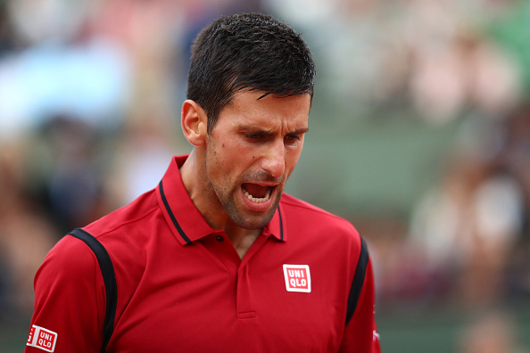 PARIS, FRANCE - MAY 28:  Novak Djokovic of Serbia reacts during the Men's Singles third round match against Aljaz Bedene of Great Britain on day seven of the 2016 French Open at Roland Garros on May 28, 2016 in Paris, France.  (Photo by Julian Finney/Getty Images)