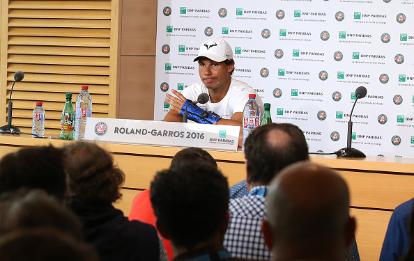 PARIS, FRANCE - MAY 27: Rafael Nadal of Spain announces his withdrawal from French Open due to an injury during a press conference on day 6 of the 2016 French Open held at Roland-Garros stadium on May 27, 2016 in Paris, France. (Photo by Jean Catuffe/Getty Images)