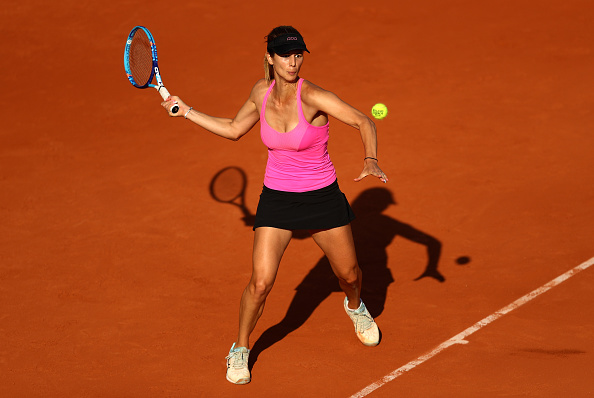 PARIS, FRANCE - MAY 27:  Tsvetana Pironkova of Bulgaria hits a forehand during the Ladies Singles third round match against Sloane Stephens of the United States on day six of the 2016 French Open at Roland Garros on May 27, 2016 in Paris, France.  (Photo by Julian Finney/Getty Images)