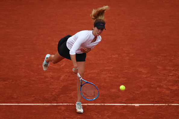 PARIS, FRANCE - MAY 29:  Tsvetana Pironkova of Bulgaria serves during the Ladies Singles fourth round match against Agnieszka Radwanska of Poland on day eight of the 2016 French Open at Roland Garros on May 29, 2016 in Paris, France.  (Photo by Julian Finney/Getty Images)