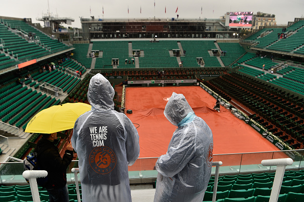 during the **** Singles fourth round match against **** on day nine of the 2016 at Roland Garros on May 30, 2016 in Paris, France.