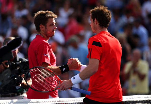 NEW YORK, NY - SEPTEMBER 05:  Stanislas Wawrinka of Switzerland shakes hands at the net with Andy Murray of Great Britain after their men's singles quarterfinal match on Day Eleven of the 2013 US Open at USTA Billie Jean King National Tennis Center on September 5, 2013 in the Flushing neighborhood of the Queens borough of New York City.  (Photo by Clive Brunskill/Getty Images)