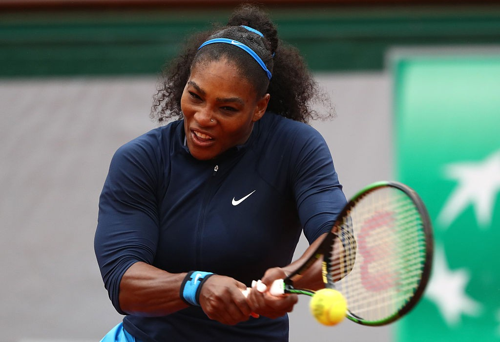 PARIS, FRANCE - JUNE 03:  Serena Williams of the United States of the United States hits a backhand during the Ladies Singles semi final match against Kiki Bertens of Netherlands on day thirteen of the 2016 French Open at Roland Garros on June 3, 2016 in Paris, France.  (Photo by Julian Finney/Getty Images)
