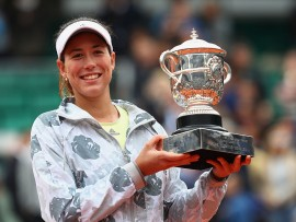 during the Ladies Singles final match against **** on day fourteen of the 2016 French Open at Roland Garros on June 4, 2016 in Paris, France.