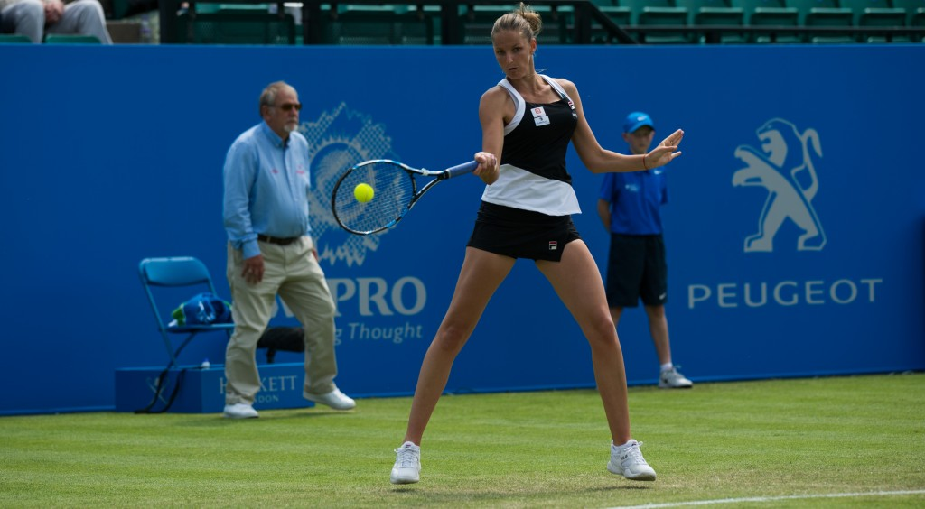 NOTTINGHAM, ENGLAND - JUNE 08: Karolina Pliskova of Czech Republic in action during her women's singles match against Anna Tatishvili of USA on day three of the WTA Aegon Open on June 8, 2016 in Nottingham, England. (Photo by Jon Buckle/Getty Images for LTA)